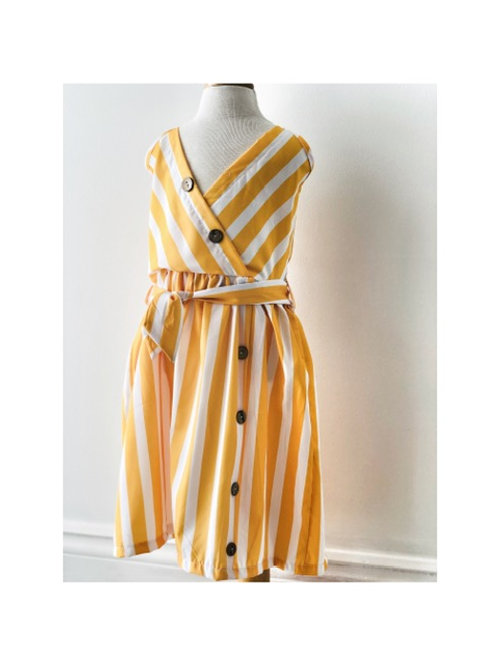 Yellow Stripe Button Sundress