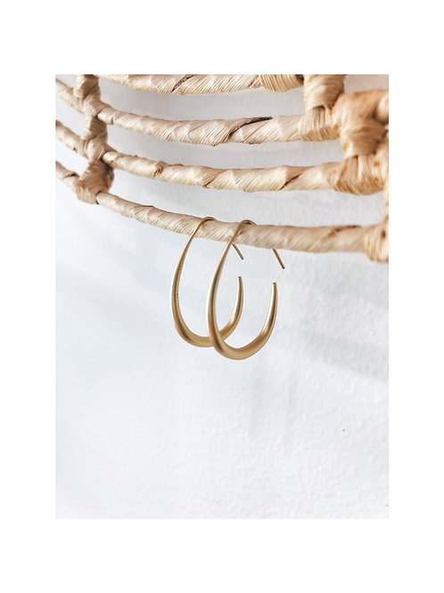 Fine Brushed Gold Hoop Earring