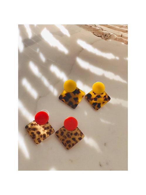 Acrylic Leopard Button Earrings