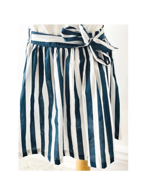 Blue & White Stripe Tie Skirt