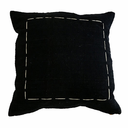 Black Hand Stitch Cushion Cover