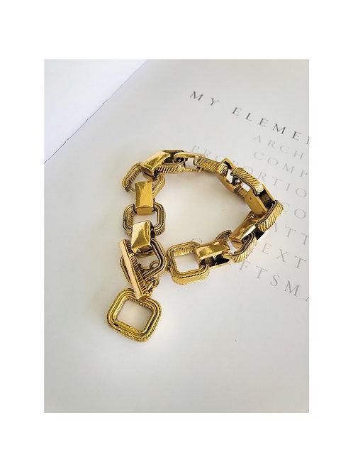 Square Antique Gold Bracelet