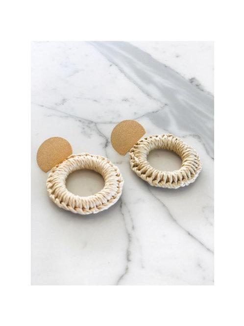 Gold Disc Woven Hoop Earring