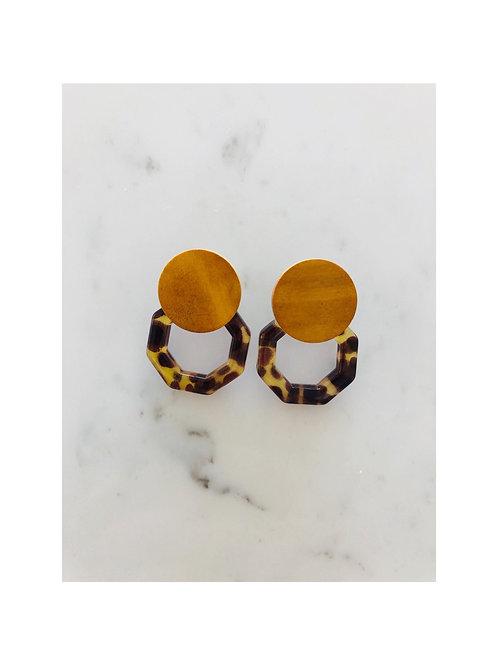 Acrylic Wood Button Earrings