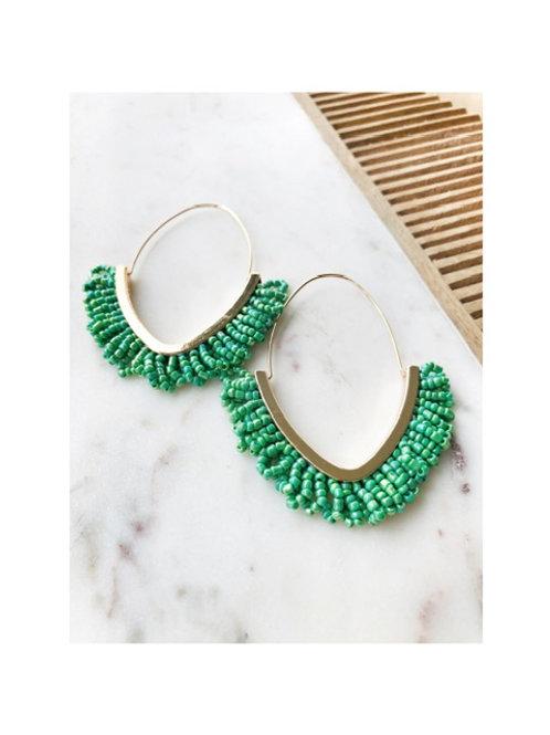 Beaded Gold Hoop Earrings
