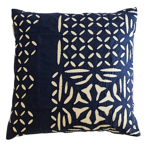 Blue Hand Cut Indian Cotton Cushion Cover