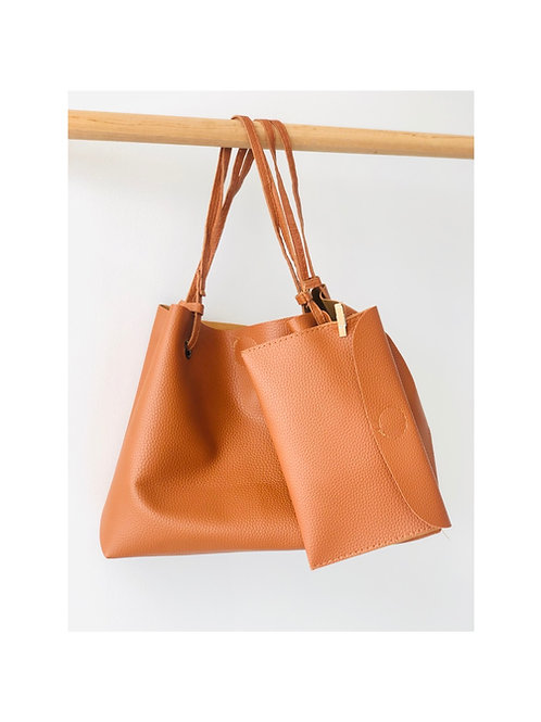 Tan Tote Bag with Clutch/Purse