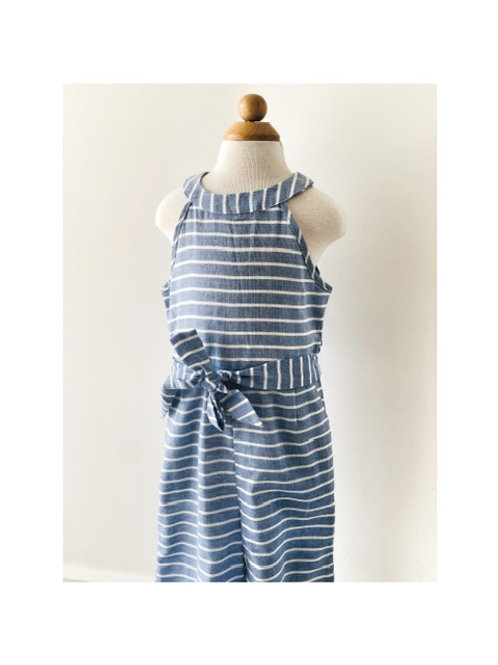 Blue Stripe Tie Waist Jumpsuit