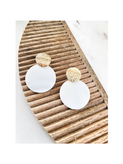Round Pearl Disc Earring