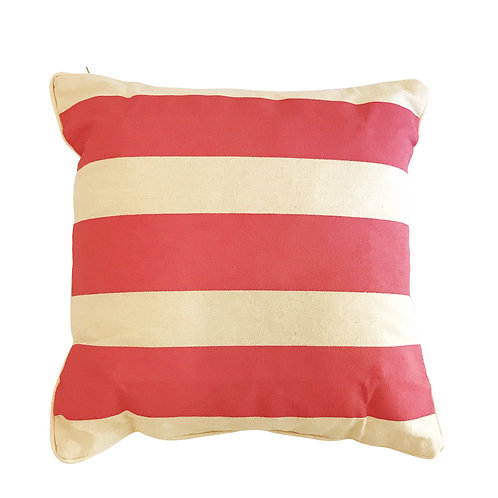 Pink Stripe Cushion Cover on Canvas