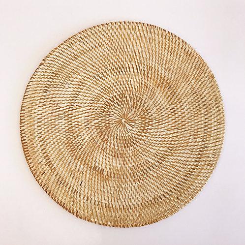 Handwoven Round Rattan Placemat Whitewash