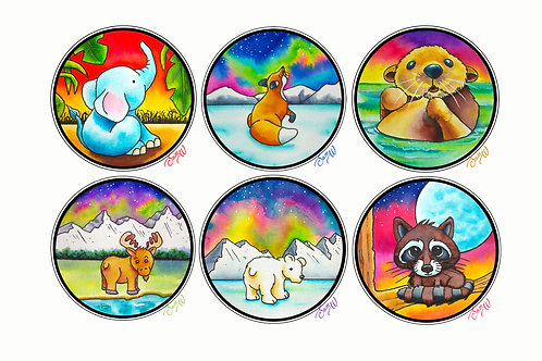 Set of 6 Cute Animal Watercolor Blank Note Cards