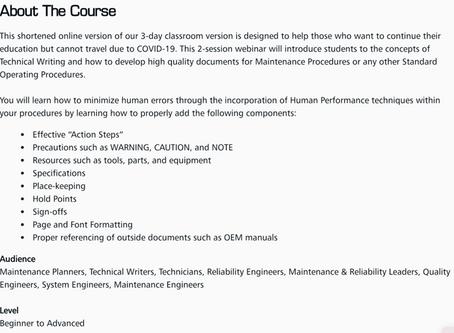 WEBINAR: How to Write Precision Maintenance Procedures (April 8-9)
