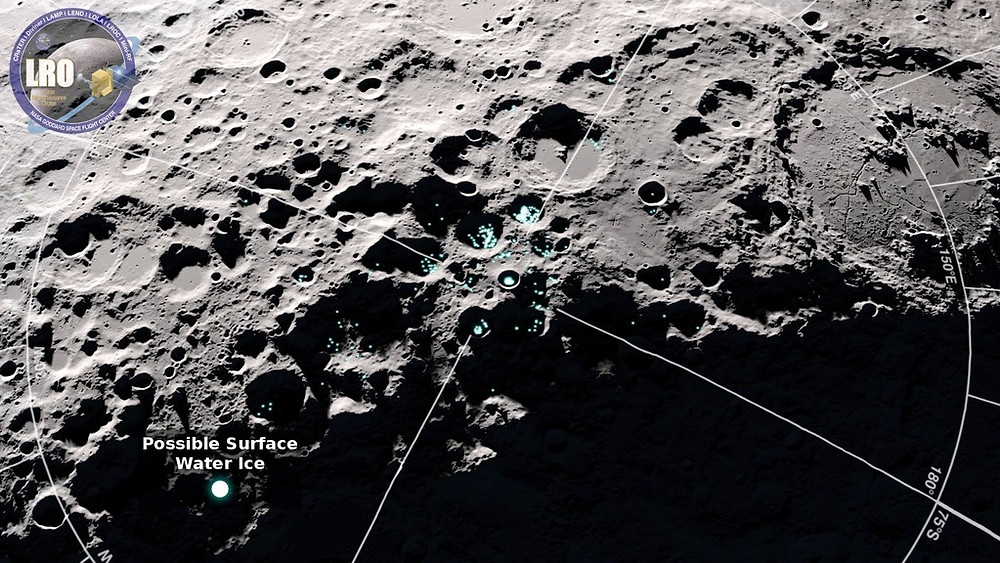 A view of the south pole of the Moon showing where reflectance and temperature data indicate the possible presence of surface water ice. Credit: NASA