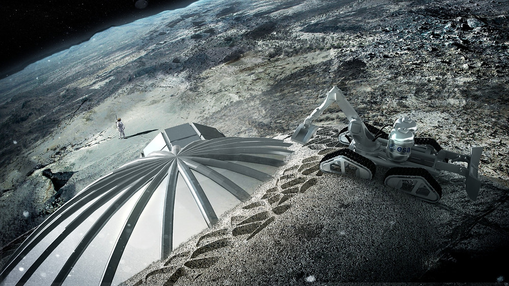 Multi-dome lunar base being constructed, based on the 3D printing concept. Credit: ESA/Foster + Partners