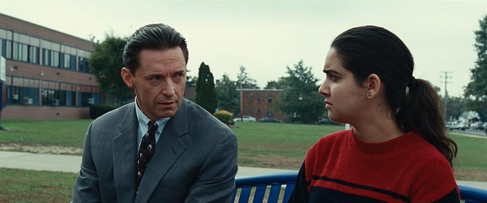 Hugh Jackman and Geraldine Viswanathan in 'Bad Education'. Credit: HBO Films