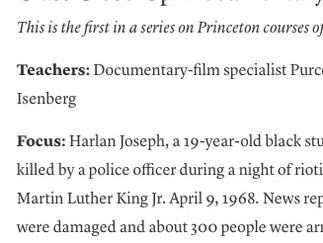 """""""Class Close-Up: Documentary Film and the City"""" in the Princeton Alumni Weekly"""