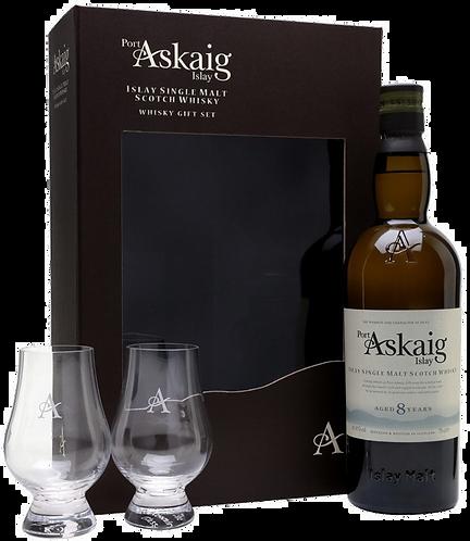 Coffret PORT ASKAIG Whisky + 2 verres