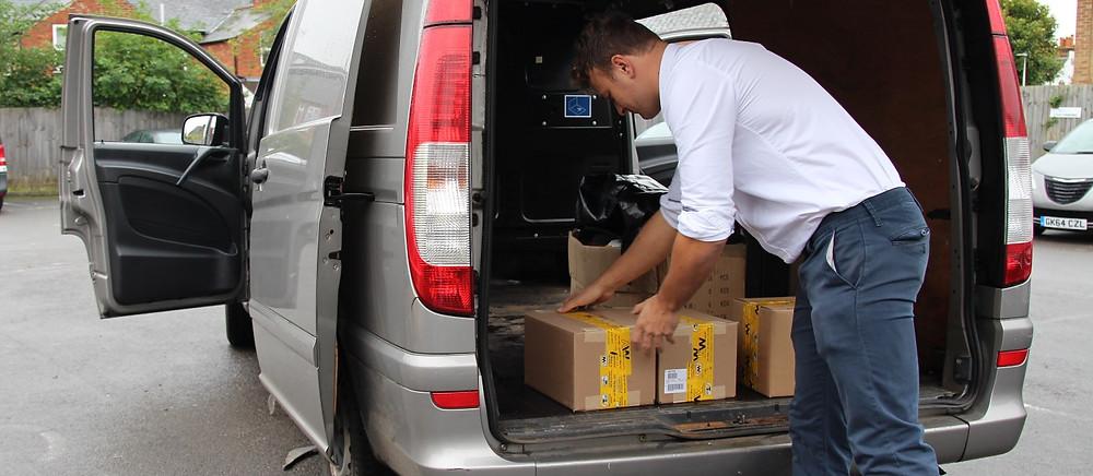van being loaded