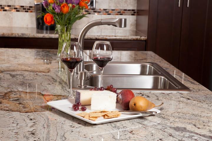 stone kitchen surface around sink