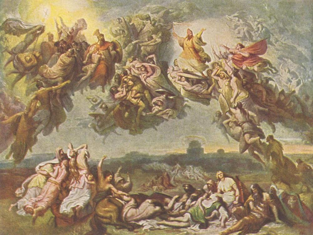 Wilhelm von Kaulbach, Die Hunnenschlacht, Huile sur toile, v. 1850