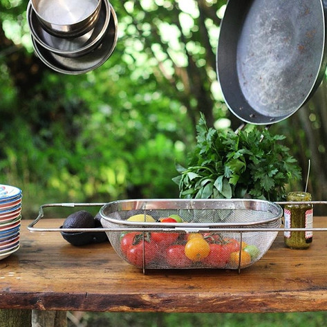 Prepping in the outdoor kitchen