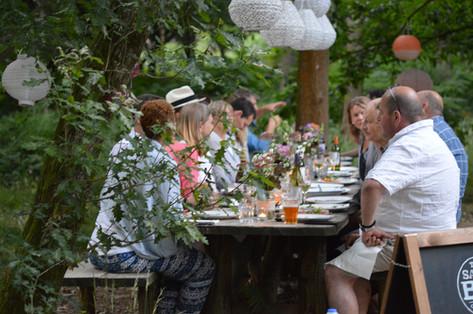 Rustic woodland dining