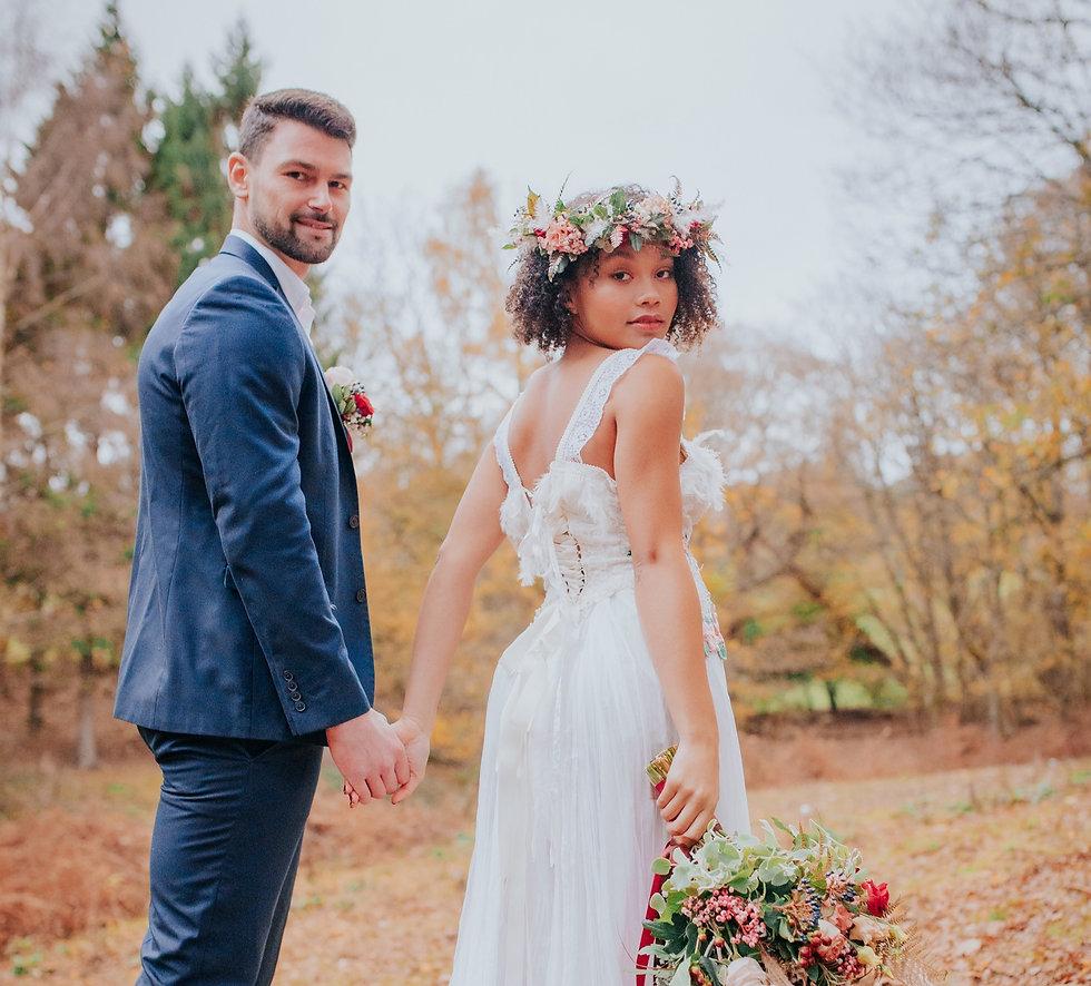 Woodland Wedding Couple Surrey