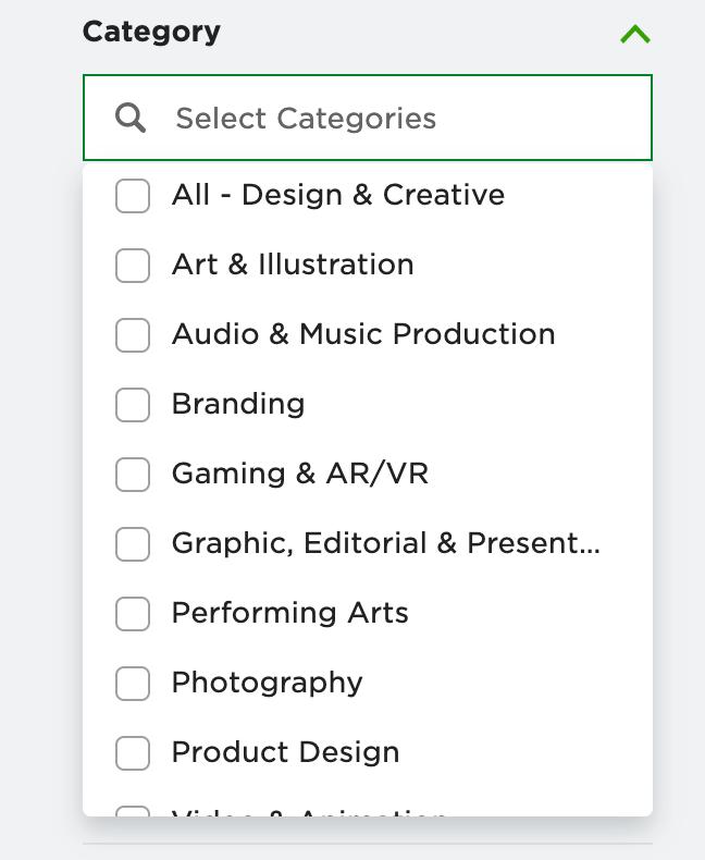 Freelance Categories on Upwork