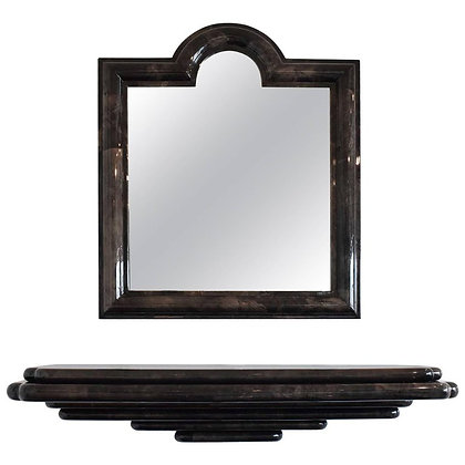 Karl Springer Style Goatskin Wall Mount Console and Mirror