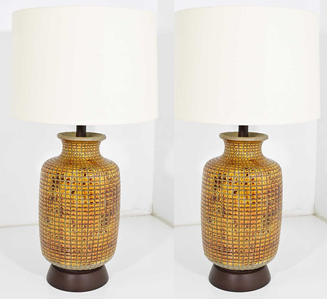 Pair of Large Mid Century Ceramic Earthernware Table Lamps