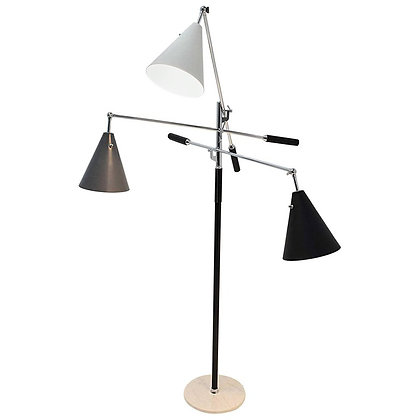 Arredoluce Triennale Three-Arm Chrome Leather and Marble Floor Lamp