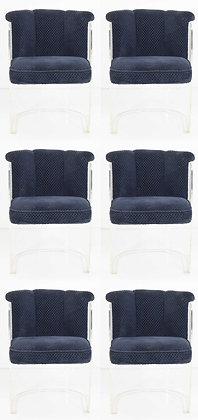 Six Vladimir Kagan Barrel Lucite Dining Chairs