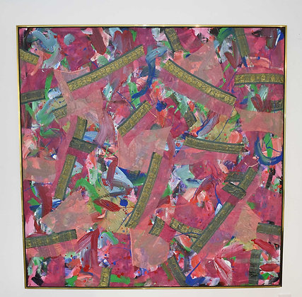 Joseph M. Glasco (1925 - 1996) Oil and Collage on Canvas, #34, dtd 1985