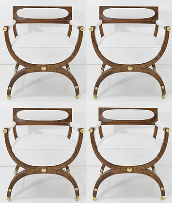Director or Savonarola Style Chairs in Burl Wood with Brass Accents by Widdicomb