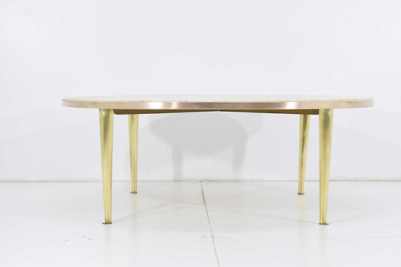 Italian Brass and Travertine Cocktail Table