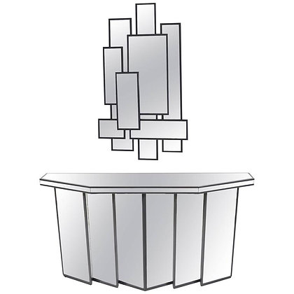 Mid-Century Faceted Console with Cubist Mirror