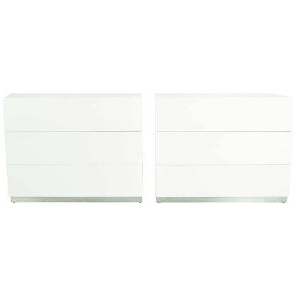 Milo Baughman Nightstands in White Lacquer