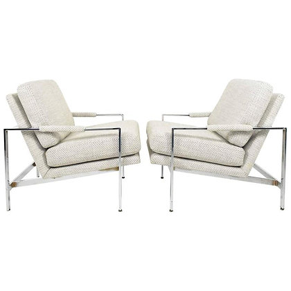 Pair of Milo Baughman Chrome Frame Lounge Chairs in New Upholstery