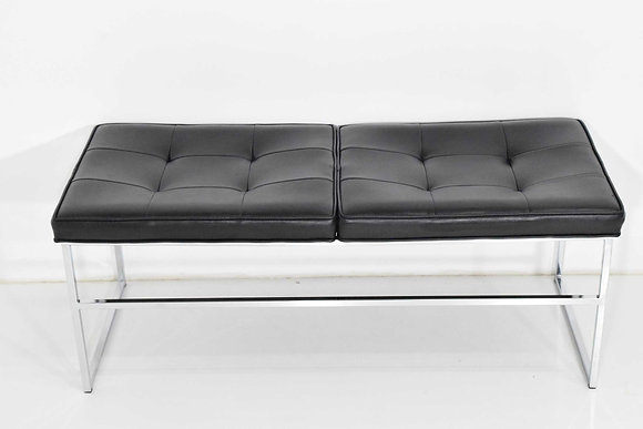 Bench in Chrome & Leather by Steelcase