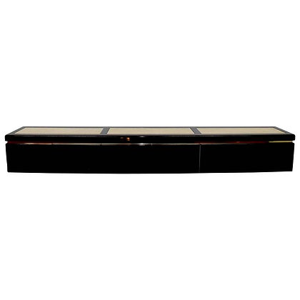 Very Large Custom Wall Hung Console in Black Lacquer and Travertine