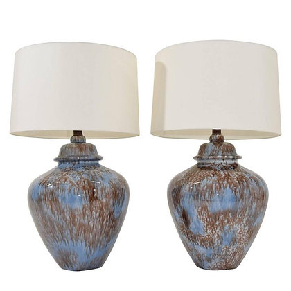 Large Pair of Drip Glaze Ceramic Lamps in Blue and Brown