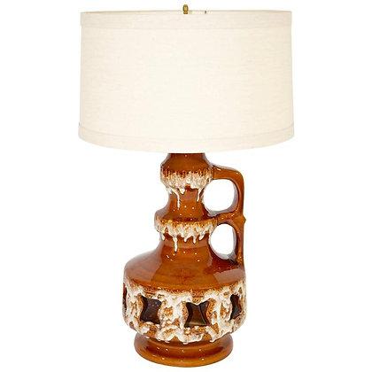 Large Skandesco Mid-Century Salt and Drip Glazed Ceramic Lamp