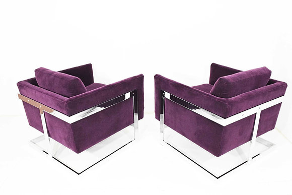 Milo Baughman T-Back Cube Chairs in Maharam Mohair