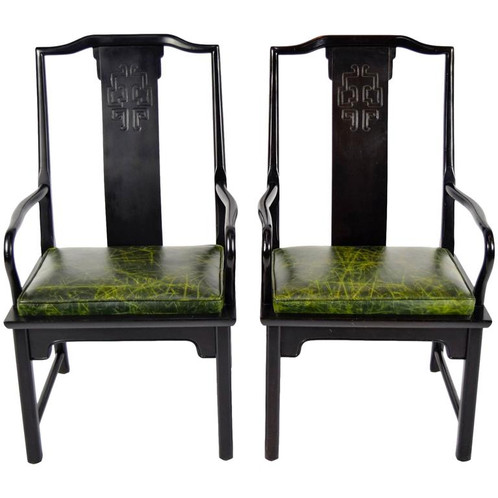 Phenomenal Pair Of Chin Hua Asian Modern Style Chairs With Leather Seats Spiritservingveterans Wood Chair Design Ideas Spiritservingveteransorg