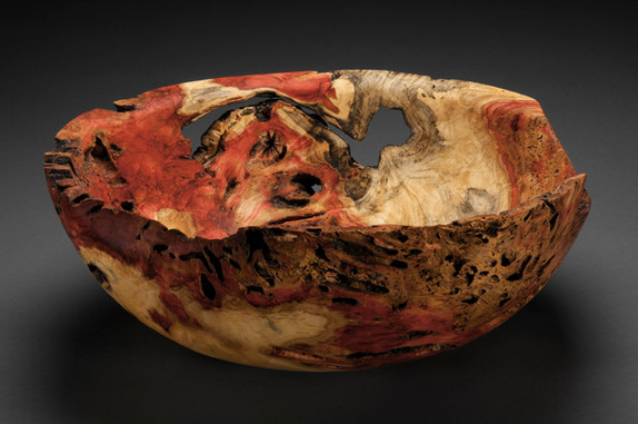 Flame Box Elder bowl with termite damage