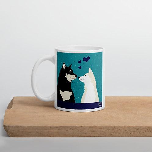 Kissing Shibas Mug