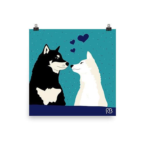 Kissing Shibas Poster