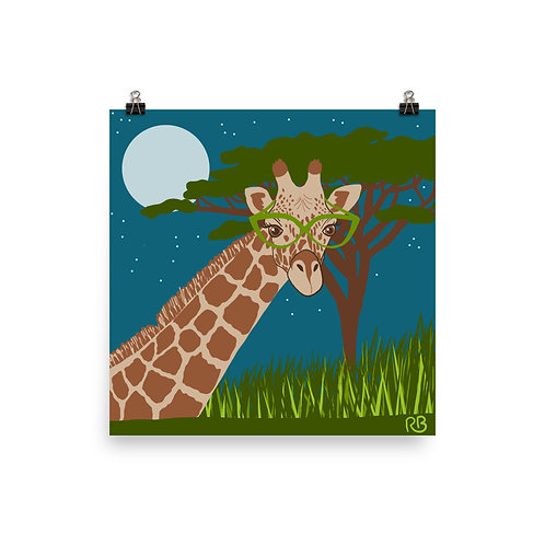 Giraffe in Glasses Poster