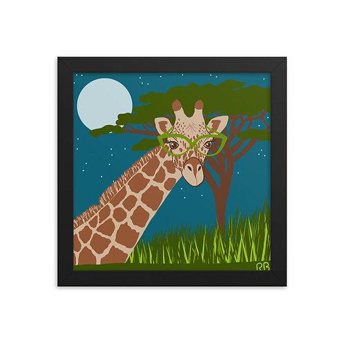 Giraffe in Glasses Framed poster